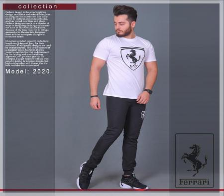 ست تیشرت و شلوار مردانه مدل Ferrari سفید